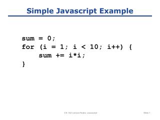 Simple Javascript Example
