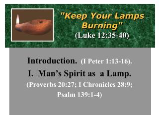 """Keep Your Lamps  Burning"" (Luke 12:35-40)"