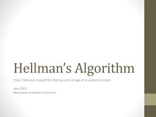 Hellman's Algorithm