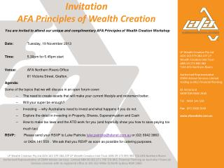 Invitation AFA Principles of Wealth Creation