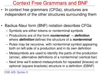 Context Free Grammars and BNF