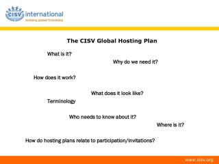 The CISV Global Hosting Plan