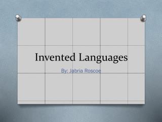 Invented Languages