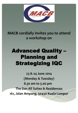 MACB  cordially  invites you to attend  a workshop on