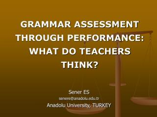 GRAMMAR ASSESSMENT  THROUGH PERFORMANCE:  WHAT DO TEACHERS THINK?