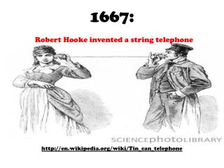 1667: Robert Hooke invented a string telephone