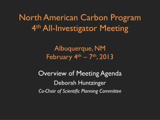 Overview of Meeting Agenda Deborah Huntzinger Co-Chair of Scientific Planning Committee