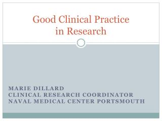 Good Clinical Practice  in Research