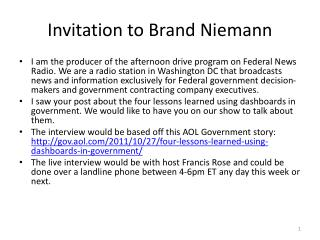 Invitation to Brand Niemann