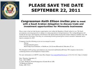 PLEASE SAVE THE DATE SEPTEMBER 22, 2011