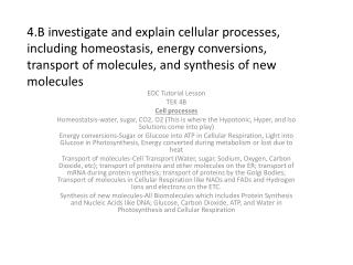 EOC Tutorial Lesson TEK 4B  Cell processes