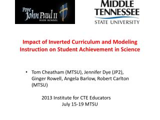 Impact of Inverted Curriculum and Modeling Instruction on Student Achievement in Science