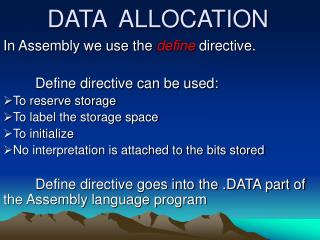 DATA  ALLOCATION
