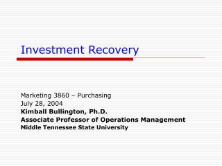 Investment Recovery