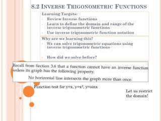 8.2 Inverse Trigonometric Functions
