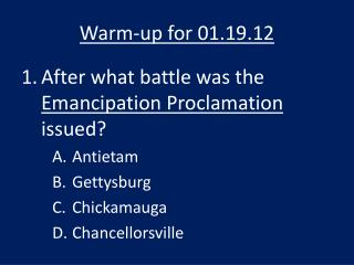 Warm-up for 01.19.12