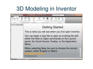 3D Modeling in Inventor