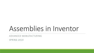Assemblies in Inventor