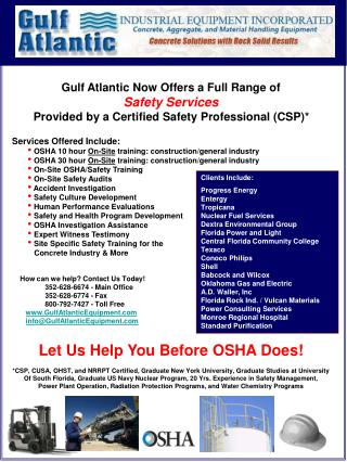 Gulf Atlantic Now Offers a Full Range of  Safety Services