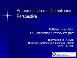 Agreements from a Compliance Perspective