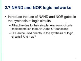 2.7  NAND and  NOR logic networks