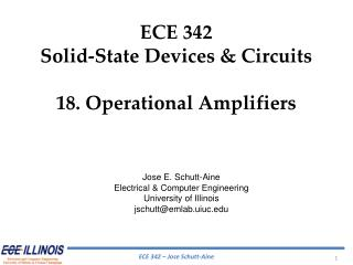 ECE  342 Solid-State Devices & Circuits 18.  Operational Amplifiers