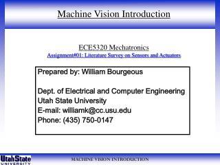 ECE5320 Mechatronics Assignment#01: Literature Survey on Sensors and Actuators