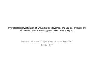 Prepared for Arizona Department of Water Resources October 1999