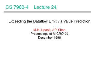 CS 7960-4    Lecture 24