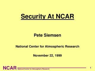 Security At NCAR