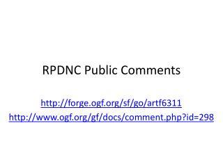RPDNC Public Comments