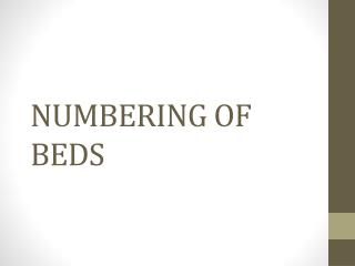 NUMBERING OF BEDS