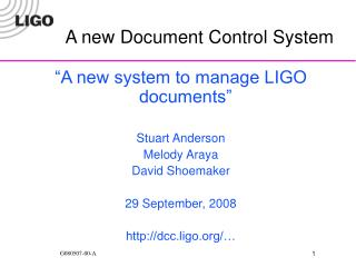 A new Document Control System