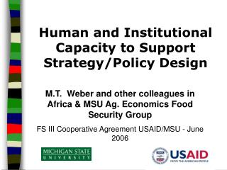 Human and Institutional Capacity to Support Strategy/Policy Design