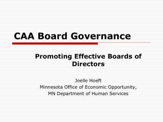 CAA Board Governance