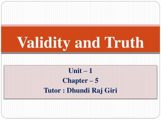 Validity and Truth