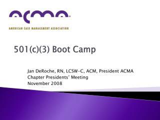 501(c)(3)  Boot Camp