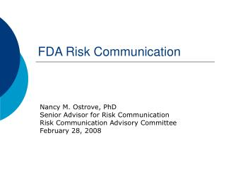 FDA Risk Communication