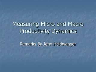 Measuring Micro and Macro Productivity Dynamics