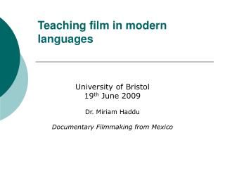 Teaching film in modern languages