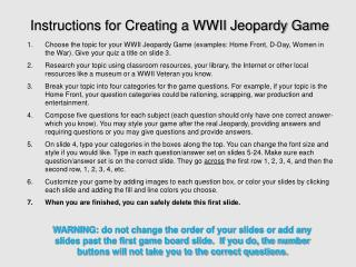 Instructions for Creating a WWII Jeopardy Game
