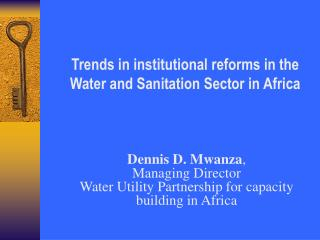 Trends in institutional reforms in the Water and Sanitation Sector in Africa