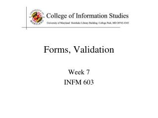 Forms, Validation