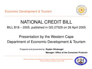 Economic Development & Tourism NATIONAL CREDIT BILL