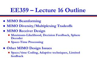 EE359 – Lecture 16 Outline
