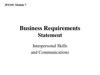 Business Requirements  Statement