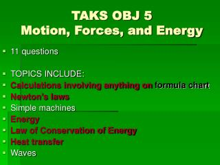 TAKS OBJ 5 Motion, Forces, and Energy