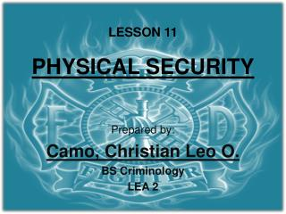 LESSON 11 PHYSICAL SECURITY