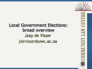Local Government Elections: broad overview
