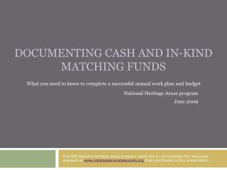Documenting Cash and In-Kind Matching Funds